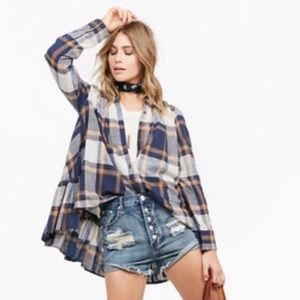Free People Peppy In Plaid Ruffle Button Down